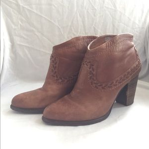 UGG Brown Leather Booties with Stitching Size 8